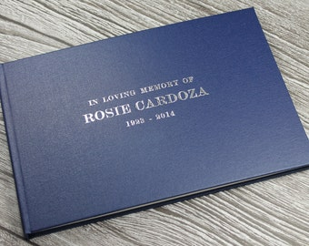 Personalised remembrance book / funeral guest book – handmade in classic dark blue buckram 172mm x 255mm