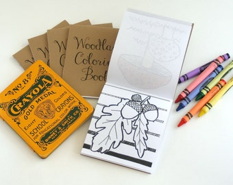 "FREE US SHIPPING-Set of 10 Mini Woodland Coloring Books- great for party favors, stocking stuffers or happies 4.25""x3.67"" with 6 images"