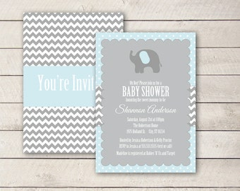 Elephant Baby Shower Invitation, Baby Shower Invites, Blue and Grey Baby shower Invite, Elephant Shower Invite, Personalized Printable