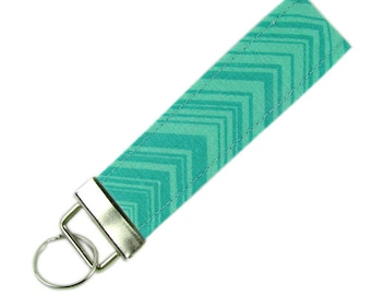 Personalized Key Chain / Key Fob Green Chevron With Optional Initials