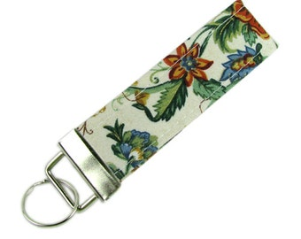 Personalized Key Chain / Key Fob Metallic Floral With Optional Initials