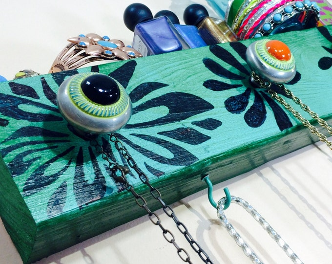 Made to order- necklace holder /Jewellry wall hanging storage recycled organizer/ jewelry display reclaimed wood hanger 5 knobs 4 teal hooks
