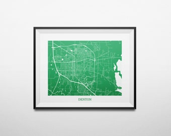 Denton, Texas, University of North Texas Abstract Street Map Print
