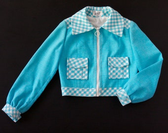 French vintage 70's girl's blue turquoise spring-jacket