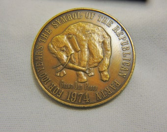 Republican 1974 Commemorative Medal, or Commemorative Coin, 100 Years Grand Old Party Elephant, Republican Elephant