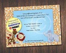 Wild Animal Baby Shower Invitation / Jungle Animals / Lions / Elephants / Giraffe/Animal Print / Baby Jungle Animals / Zoo Animals