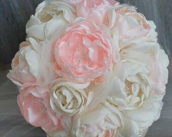 Wedding Bouquet Fabric Wedding Bouquet- Bridal Bouquet- Vintage Wedding Bouquet