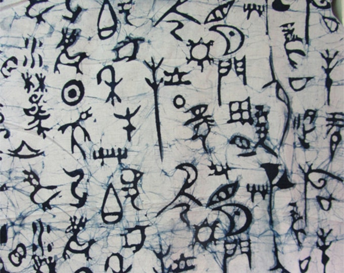 Unique Pictograph Ice Lines Texture - Chinese Handmade Batik Cotton Fabric Red/Blue White Background