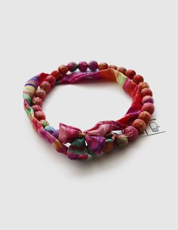colorful necklace multicolor silk by designedbyimapico