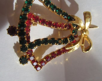 Vintage gold tone Brooch  with Bow   with red and green  stones  Christmas  Bells
