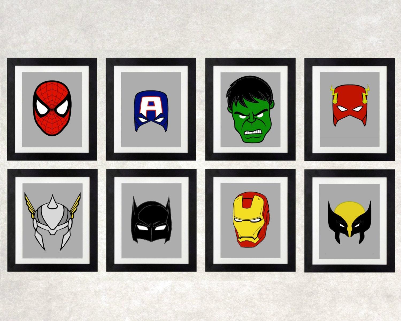 Superhero wall art superhero masks superhero decor for Superhero wall art