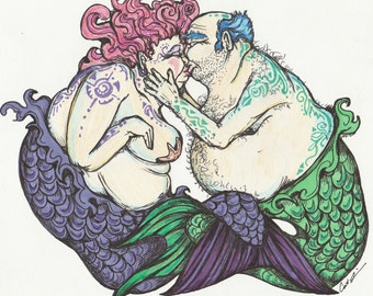 Kissing Merfolk. Art Print 8x10 inch. Mermaids. Mermaid art. Mermaid decor.