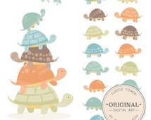 Premium Boys Turtle Tower Clip Art & Vectors - Blue Turtles, Turtle Clipart, Turtle Stack, Turtles Clip Art, Turtle Vectors, Cute Turtles