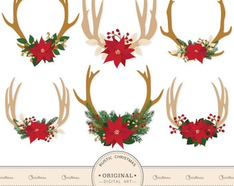 Premium Poinsettia Antlers Clipart - Christmas Clipart, Christmas Antlers Clipart, Poinsettia Clipart, Floral Antlers, Antler Vectors