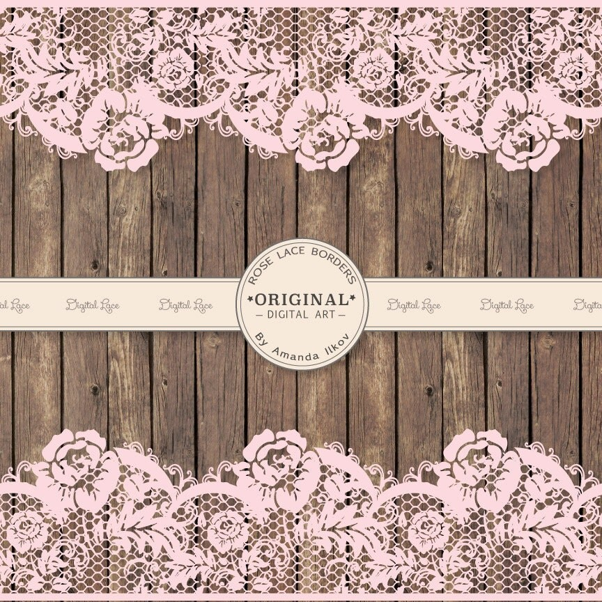 Extra Wide Pink Wedding Lace Clip Art Lace Vectors Amp Wood