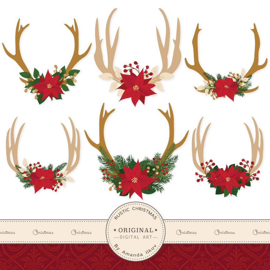 Premium Poinsettia Antlers Clipart Christmas Clipart