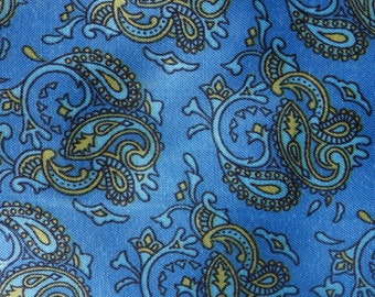 1970s vintage paisley - blue and yellow satin 2.5 metres (2 lots)
