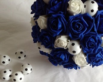 Bride's Wedding Bouquet of Royal Blue and White Roses Football theme