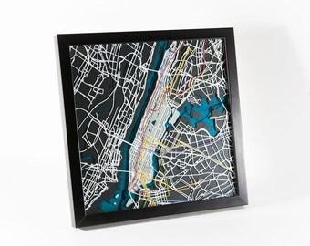 "Manhattan New York Subway Map - 12""x12"""
