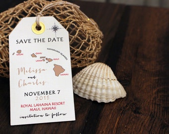 Wedding invitation Hawaii Save the Date Luggage Tag Magnet. Destination Wedding.