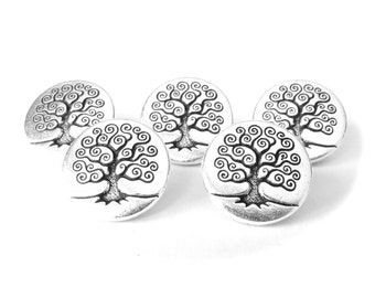 5x Tree of Life buttons with shank, TierraCast jewelry making supplies, craft supplies UK, metal buttons UK