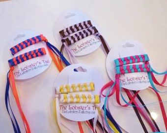 Nostalgic Braided / Woven Ribbon Barrettes Set of Two Smaller Hair Clips PICK YOUR COLORS