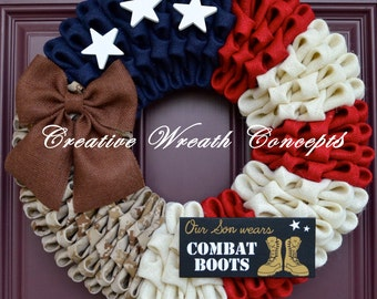 USMC - Our Hero Wears Combat Boots - Wreath