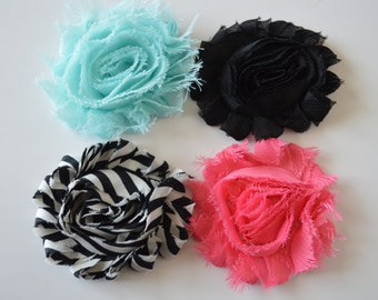 Baby/Girls Set of 4 Shabby Flower Clips - Flower Hair Clips - Black, Pink, Black Stripe, Aqua Headbands - Headband Flower Clips
