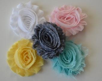 Baby/Girls Set of 5 Shabby Flower Clips - Flower Hair Clips - Pink, White, Yellow, Aqua, Gray/white Polka Dot Flower Clips - Headband Clips