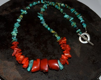 Red Coral Necklace, Coral and Turquoise necklace, mens coral necklace, Large coral necklace, large coral pendant necklace, red coral jewelry