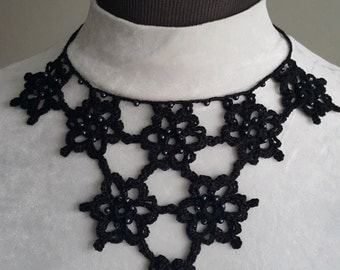 Crochet Necklace, Beaded Necklace,Crochet Neck Accessory, Black, 100% Cotton.