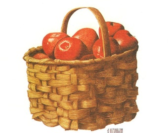 Basket Red Apples Wall Decor print of a watercolor still life painting 3 1/2 x 5 1/2 inches by Ron Wickersham
