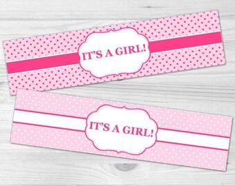 Water Bottle Label - DIY Printable Baby Shower Label: baby girl, polka dot, pink, white