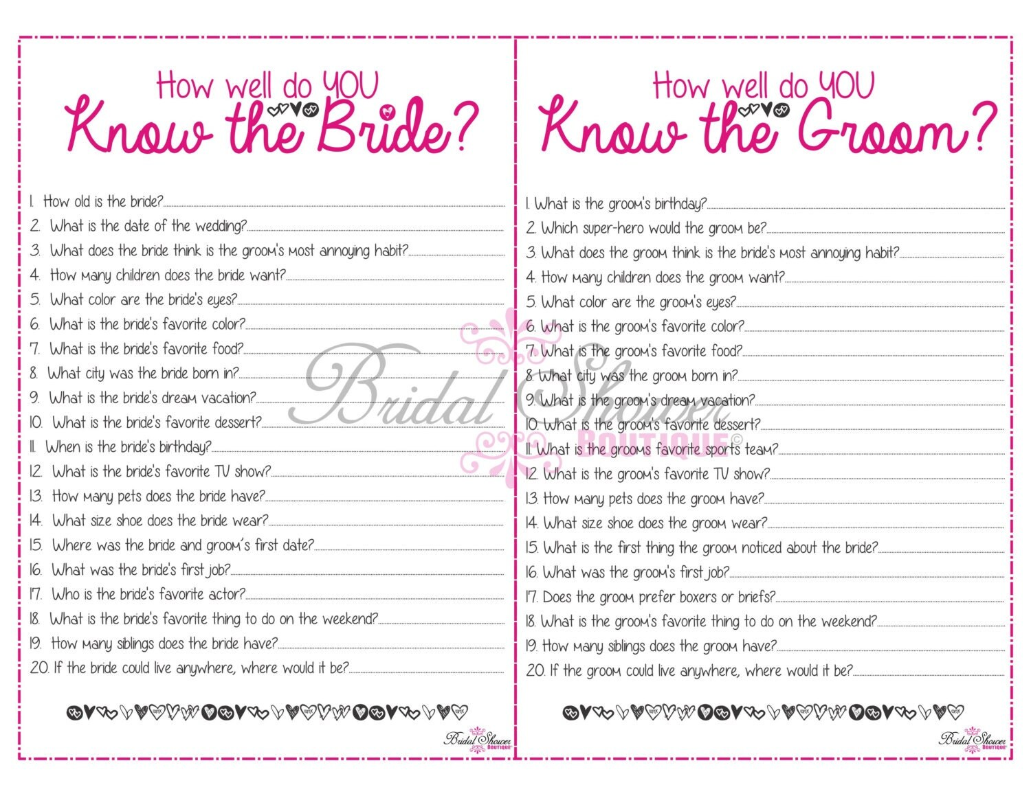 Questions to ask fiance for bridal shower