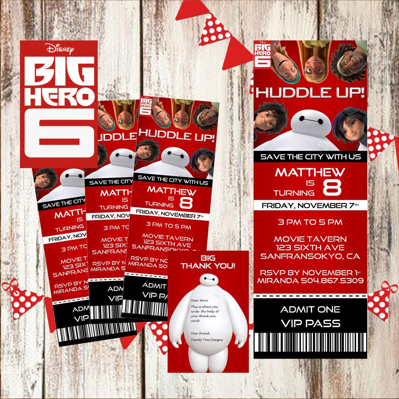 DISNEY BIG HERO 6 Movie Pass Birthday Party Ticket – Movie Ticket Invitations Printable Free