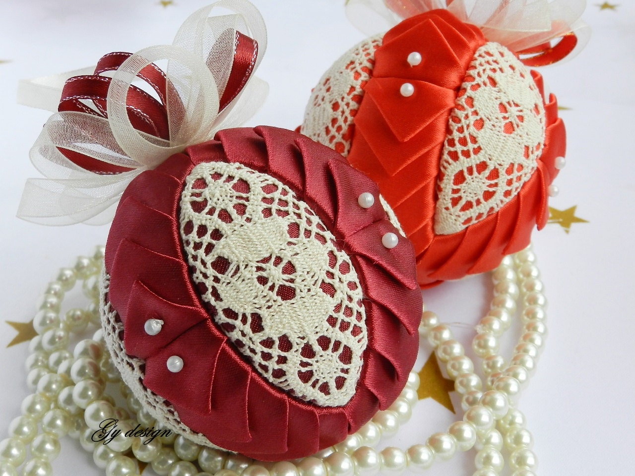 Lace Ornament Quilted Ball Ornament Handmade Ornament Fabric