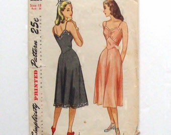 1947 Simplicity Misses' Slip Pattern 2220 - Size 18 (bust 36) - Vintage Sewing Pattern