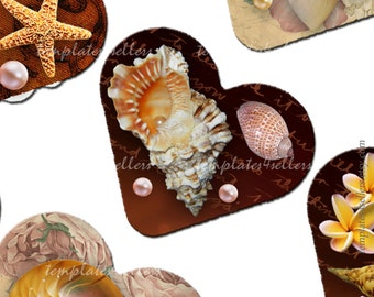 Digital Collage Sheet  Shell 1 inch heart shape images Scrapbooking Pendants Printable Original  Vintage 4x6 inch sheet  143