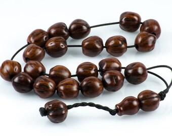 Hazel Brown Nutmeg Wood Worry Beads Komboloi