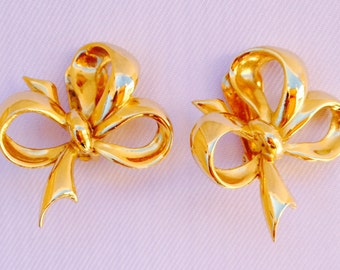Vintage R. J. Graziano Gold Tone Clip-On Bow Earrings- Bride, Wedding, Mother of the Bride, Bridesmaids