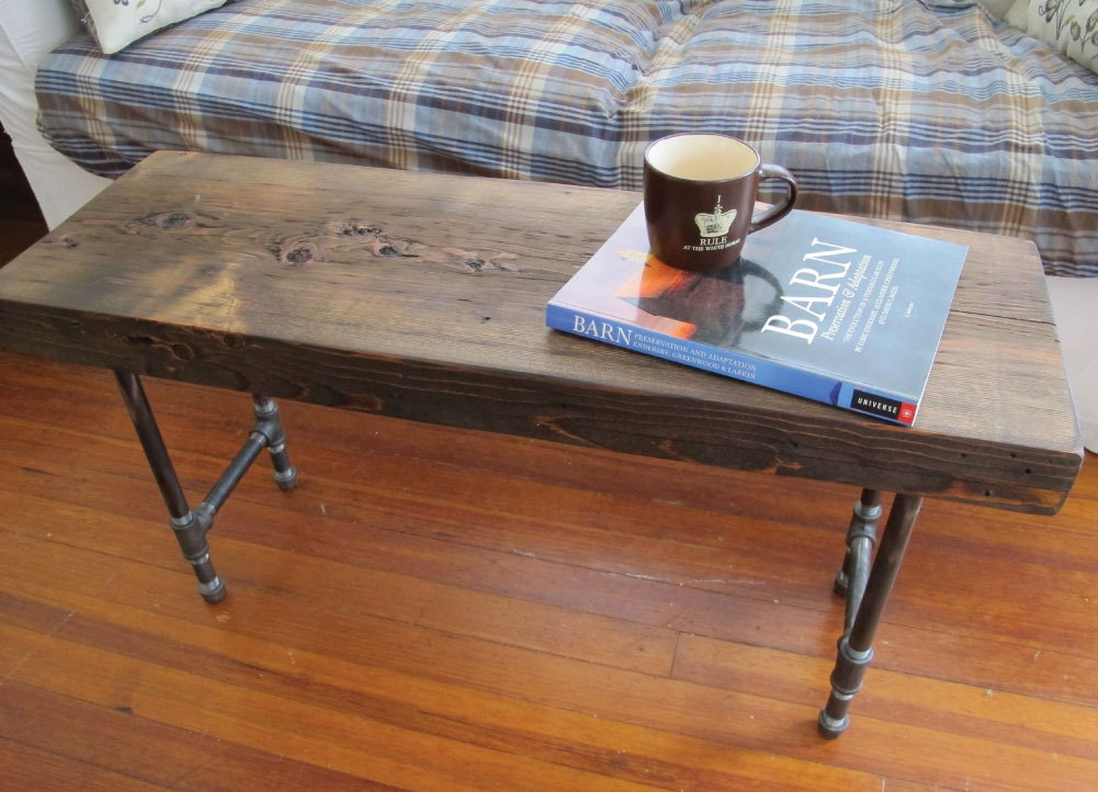 Reclaimed Wood Coffee Table with Iron Pipe Legs by LuckyBluDesigns