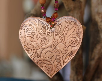 Etched copper  heart
