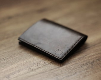 Mens Custom Leather Wallet, Thin Leather Wallet, Mens Anniversary Gift (Dark Brown Color)