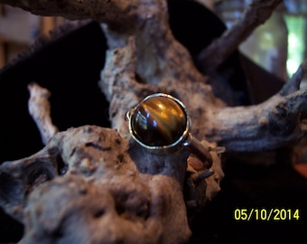 Rose Gold Golden Tigers Eye band ring.