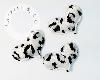 Leopard Satin Hearts Padded Applique 1 inch x 1'5 inch 22 pc