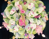 SALE!! Pink and Lime Easter Bunny Wreath - Easter Wreath - Easter Door Wreath - Easter Decoration