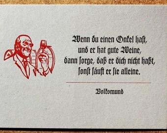 Postcard «Wenn du einen Onkel hast» (Vernacular) letterpress, lead-type on grey cardboard