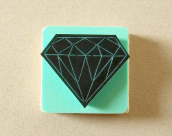 Diamond rubber stamp - hand carved - gemstone - bridal shower - wedding invitation - unmounted - mounted on wood