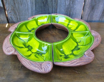 1950's 2 piece green ceramic Party Tray with ceramic wood grain trim