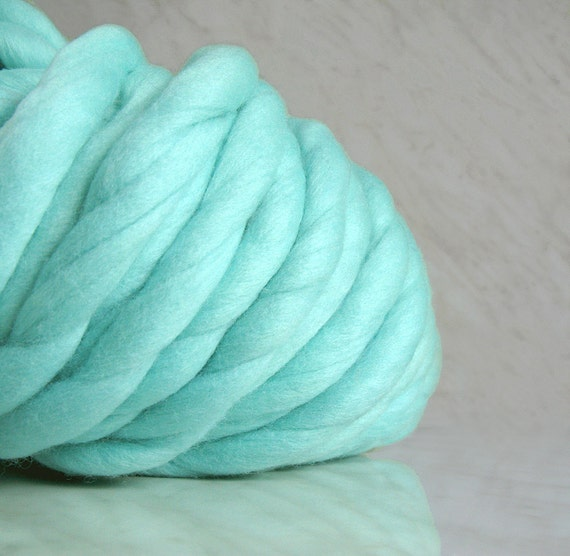 Knitting Patterns For Mega Chunky Wool : Super Bulky yarn mega chunky yarn TITAN mint35 oz mega